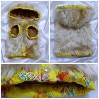 手作りの犬服 フード付きファーコート